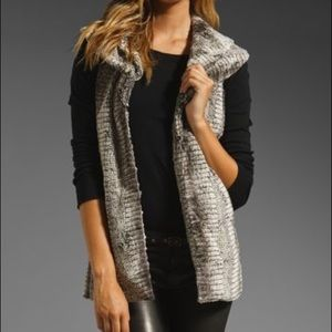 Alice + Olivia Kelsi Double Vest Faux Fur Print